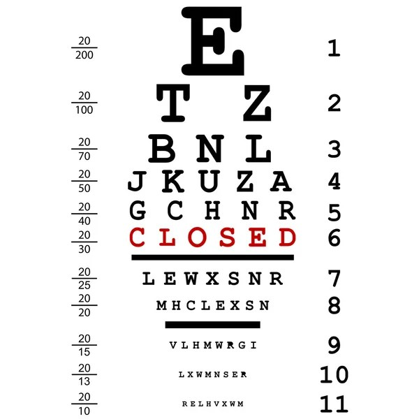 Eye Test Chart Vector. Letters Chart. Vision Exam