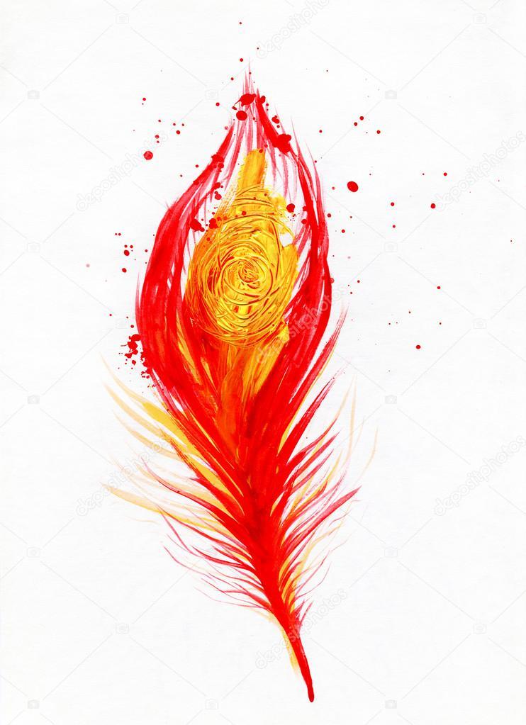 immagine acquerello di piuma di pavone rosso  Foto Stock