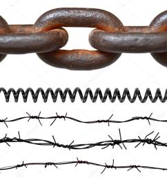 rusty chain barbed wires phone cord isolated on white photo by  [ 1023 x 807 Pixel ]