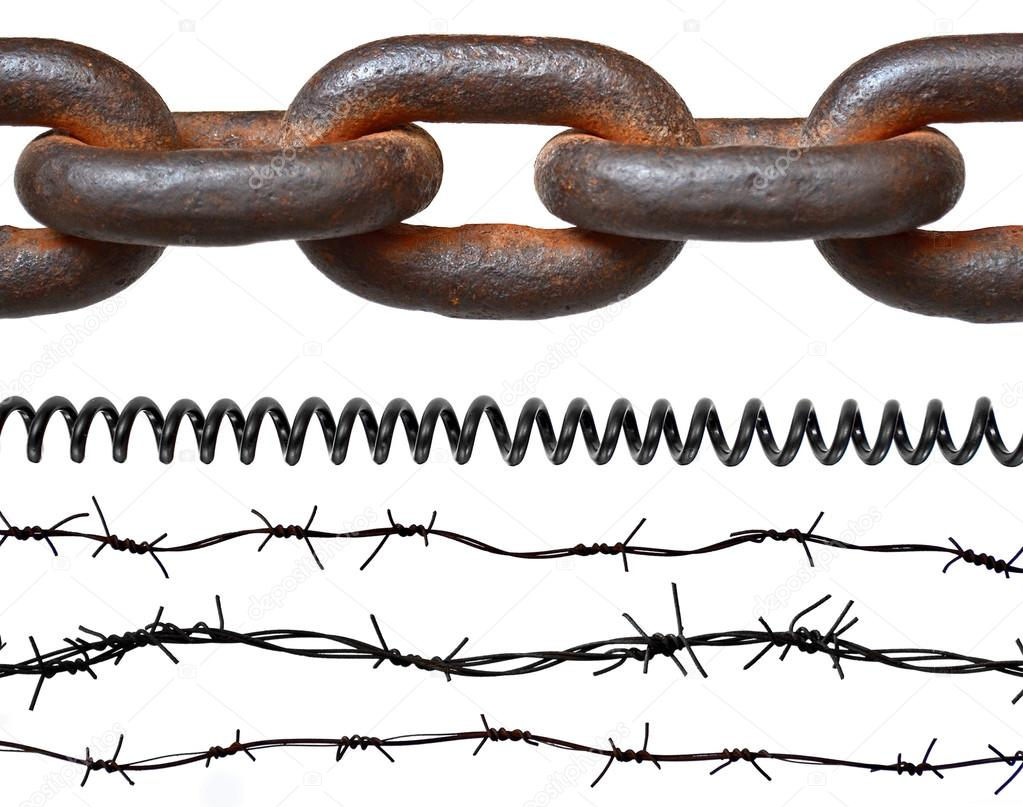 hight resolution of rusty chain barbed wires phone cord isolated on white photo by