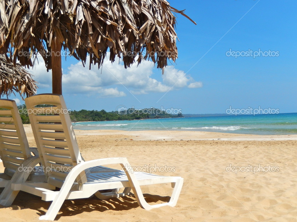 perfect beach chairs mission style dining room on tropical white sand stock photo image