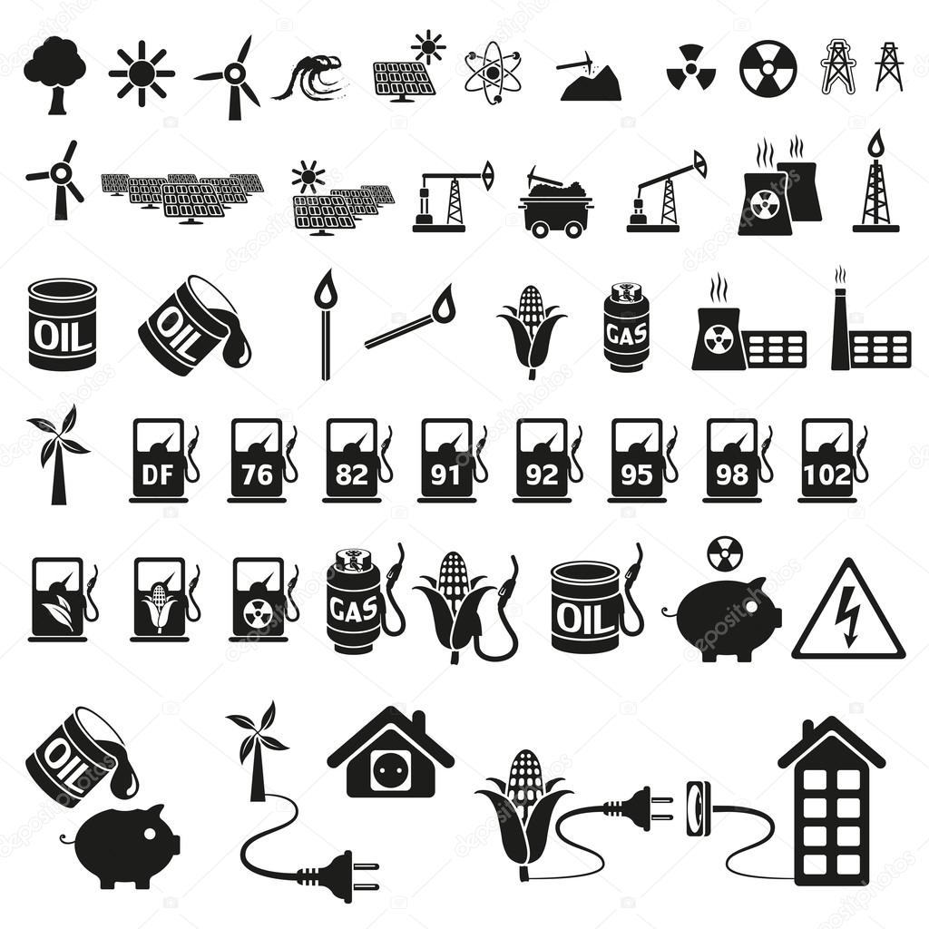 Energy and resource icon set — Stock Vector © strejman