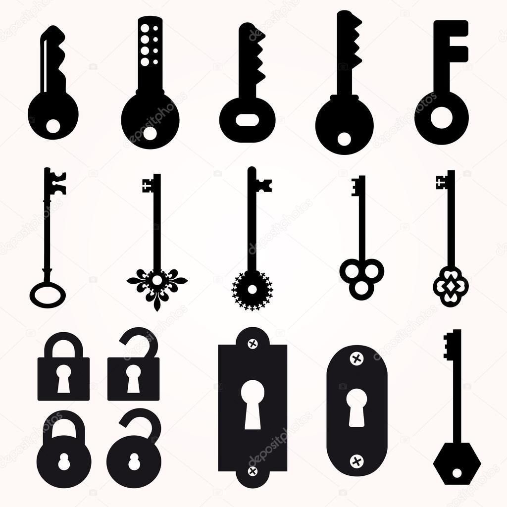 Icon Key Black Silhouette Vector Decorative Items