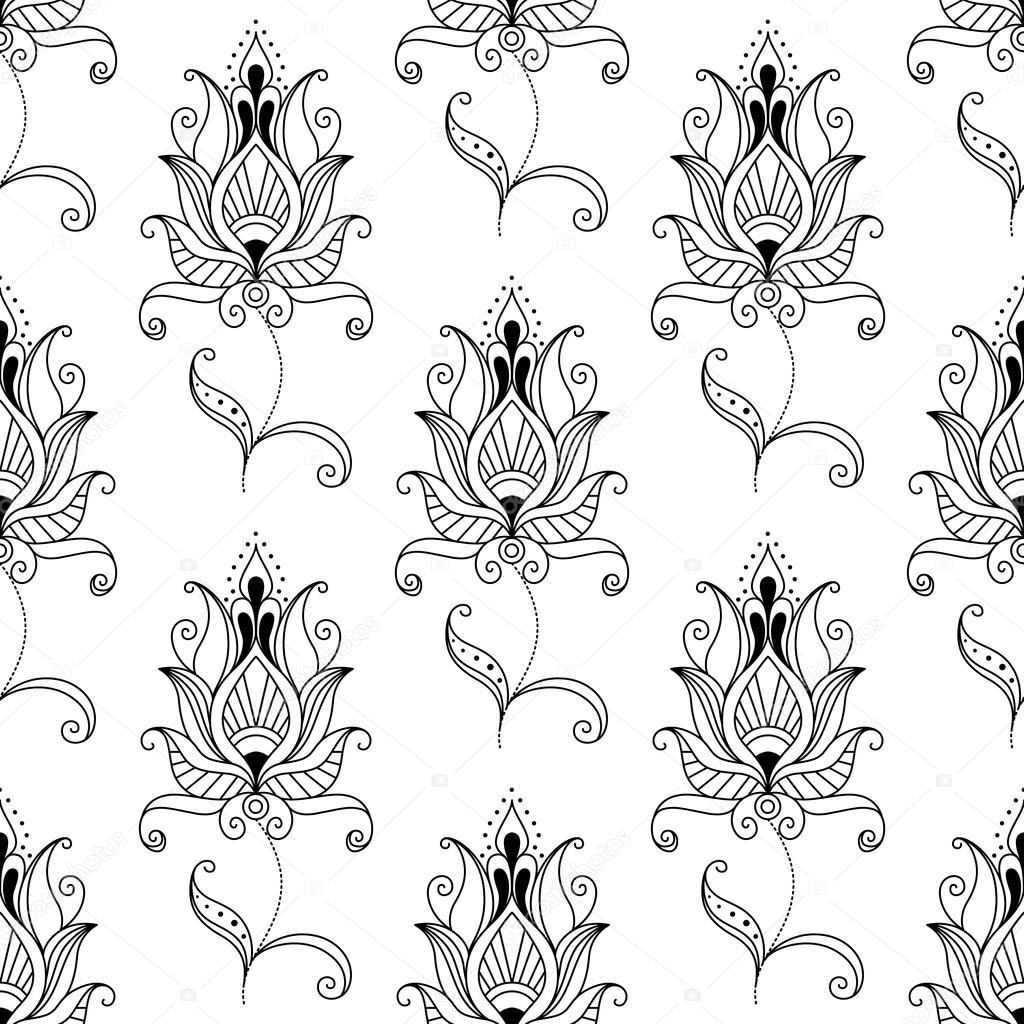 Farsça bitkisel motifler ile Seamless Modeli yineleyin