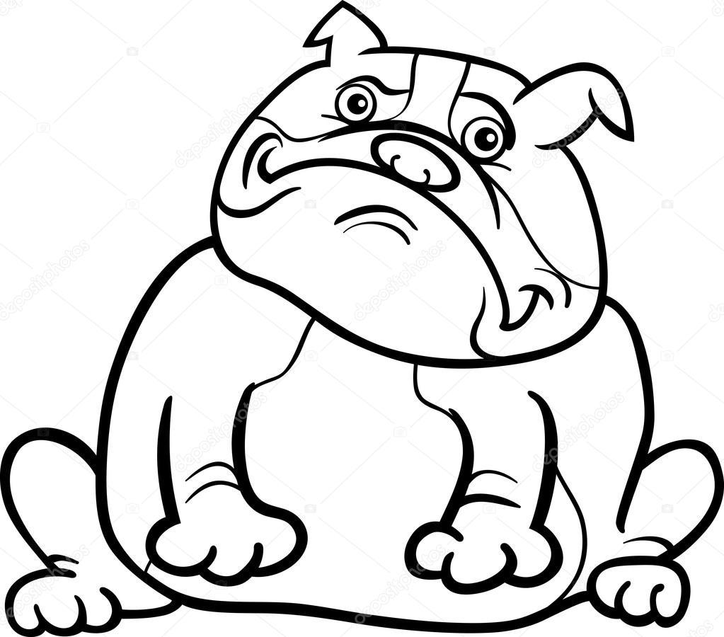 Bulldog Cartoon Drawing Sketch Coloring Page