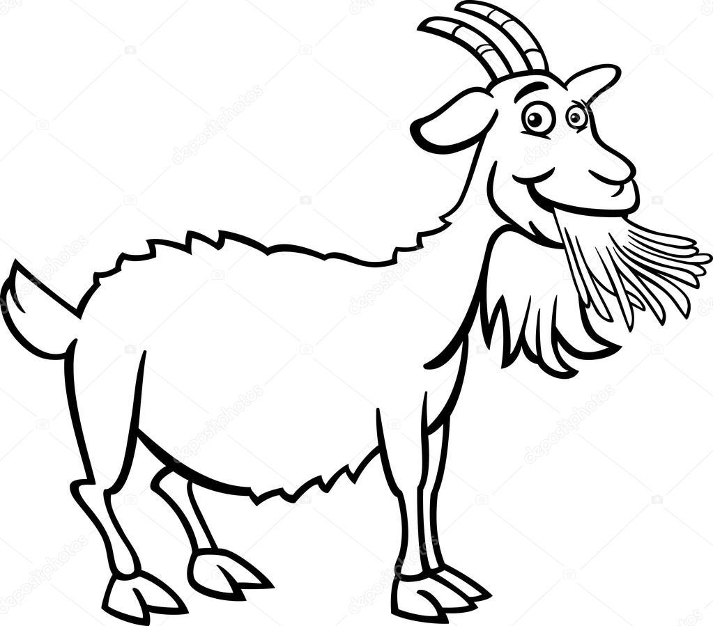Farm goat cartoon for coloring book — Stock Vector