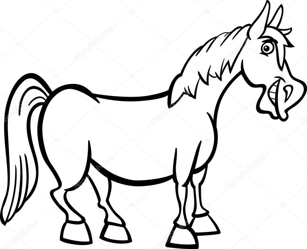 Farm horse cartoon for coloring book — Stock Vector