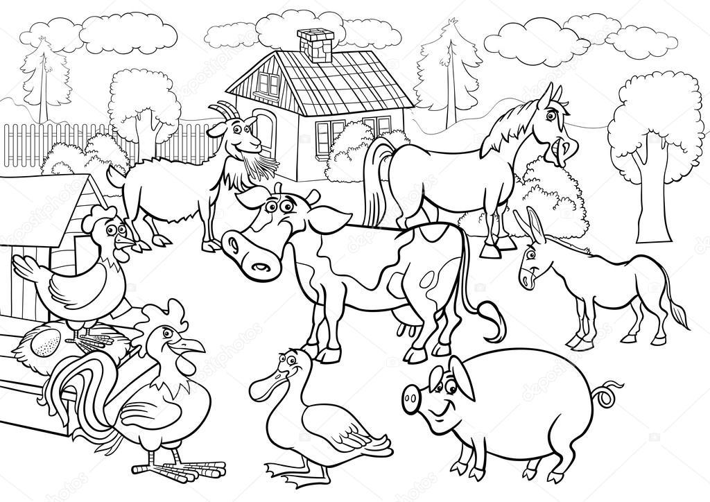 Farm animals cartoon for coloring book — Stock Vector