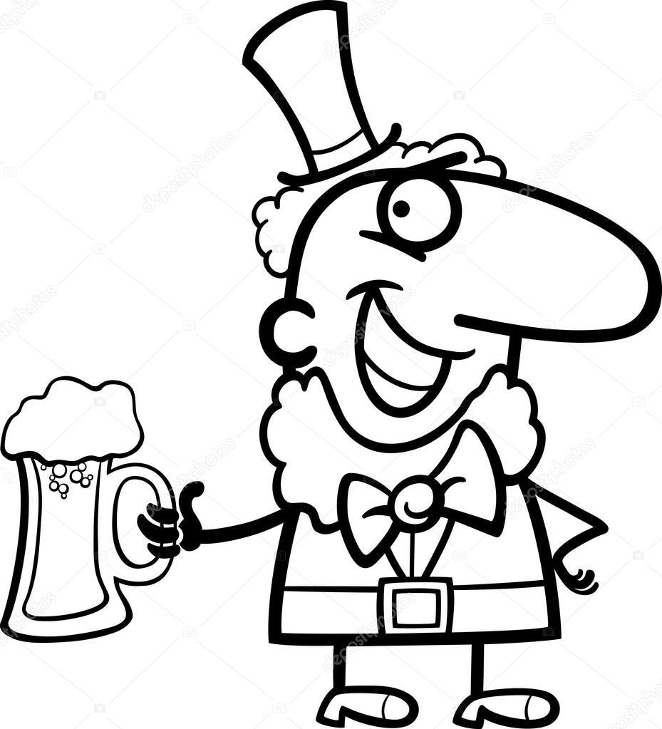 Svartvita tecknade illustration av glad tomte med öl på st