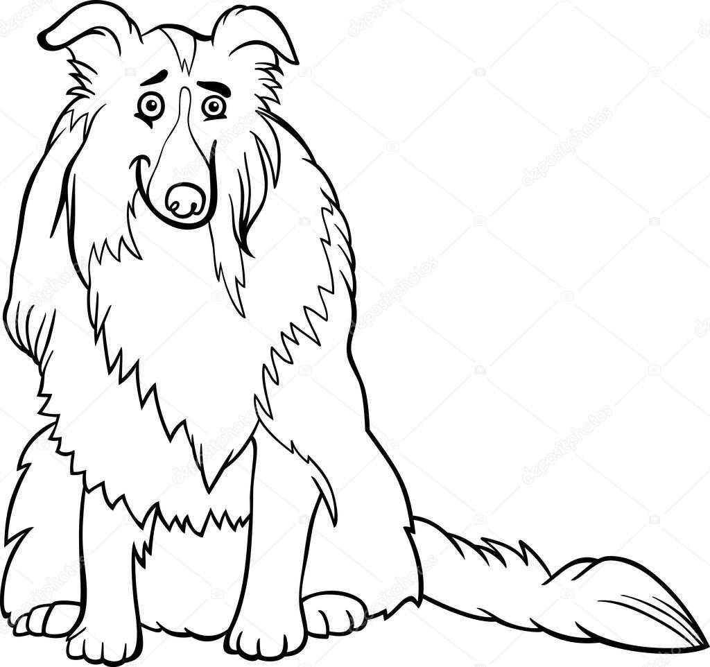 Collie Hund Cartoon Fur Malbuch