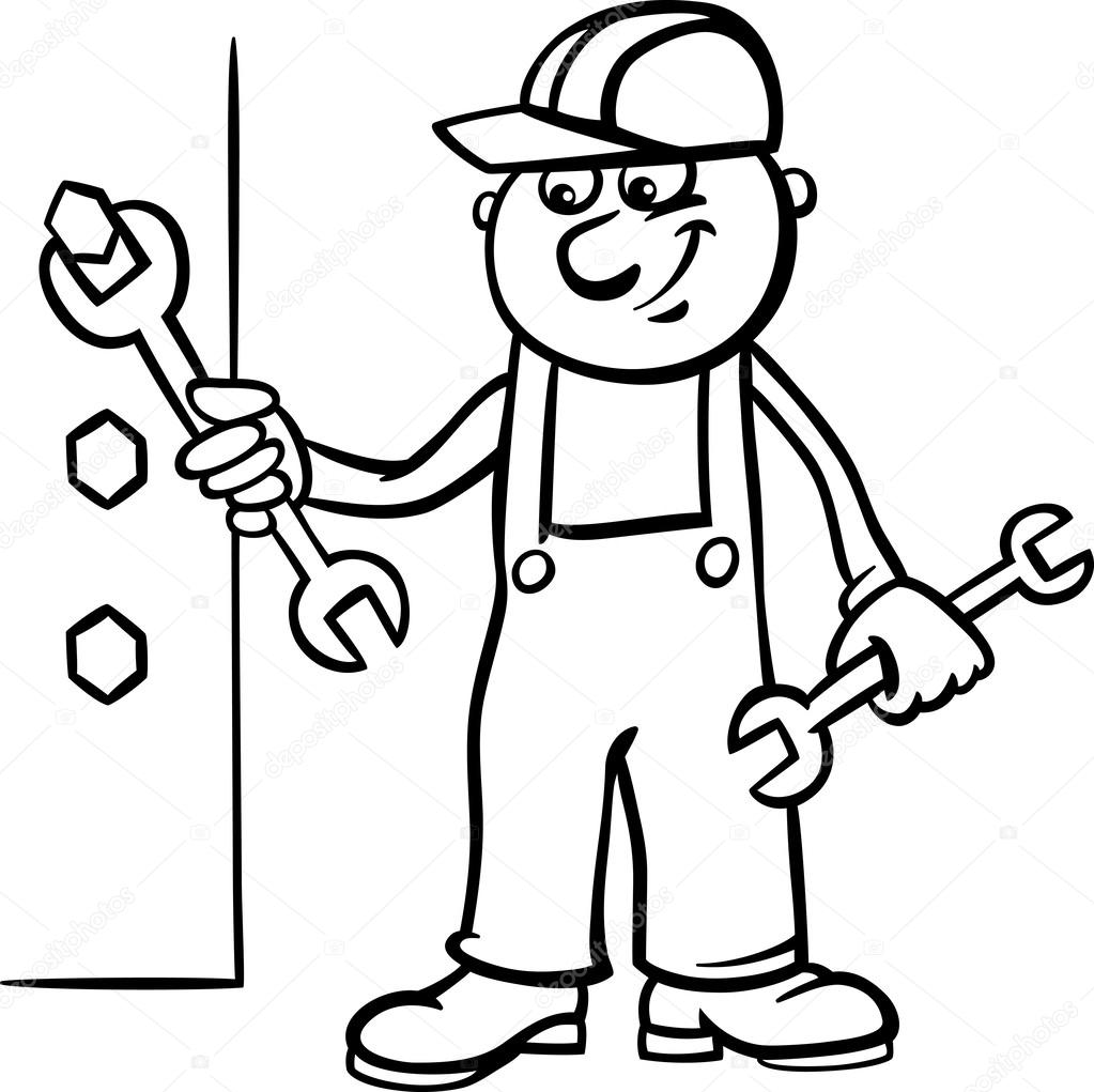 Worker with wrench coloring page — Stock Vector