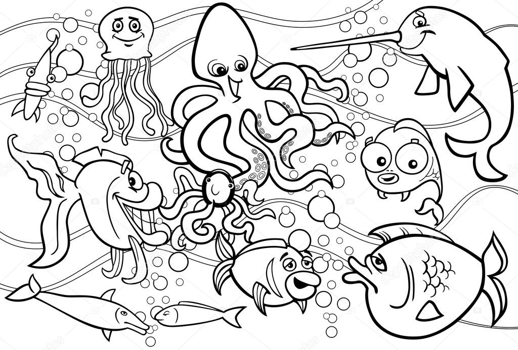 Sea life animals group coloring page — Stock Vector