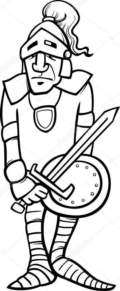 Illustrazione fumetto bianco e nero del cavaliere in