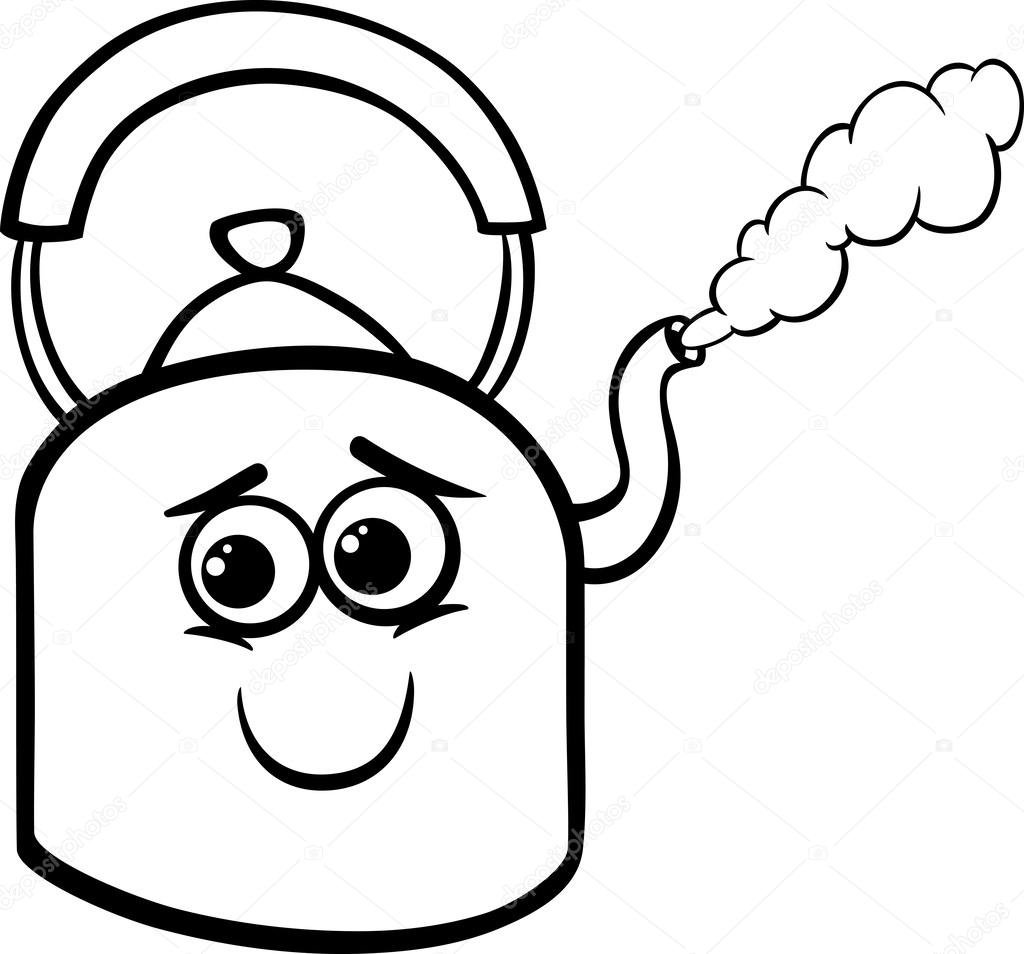 kettle and steam coloring page — Stock Vector © izakowski