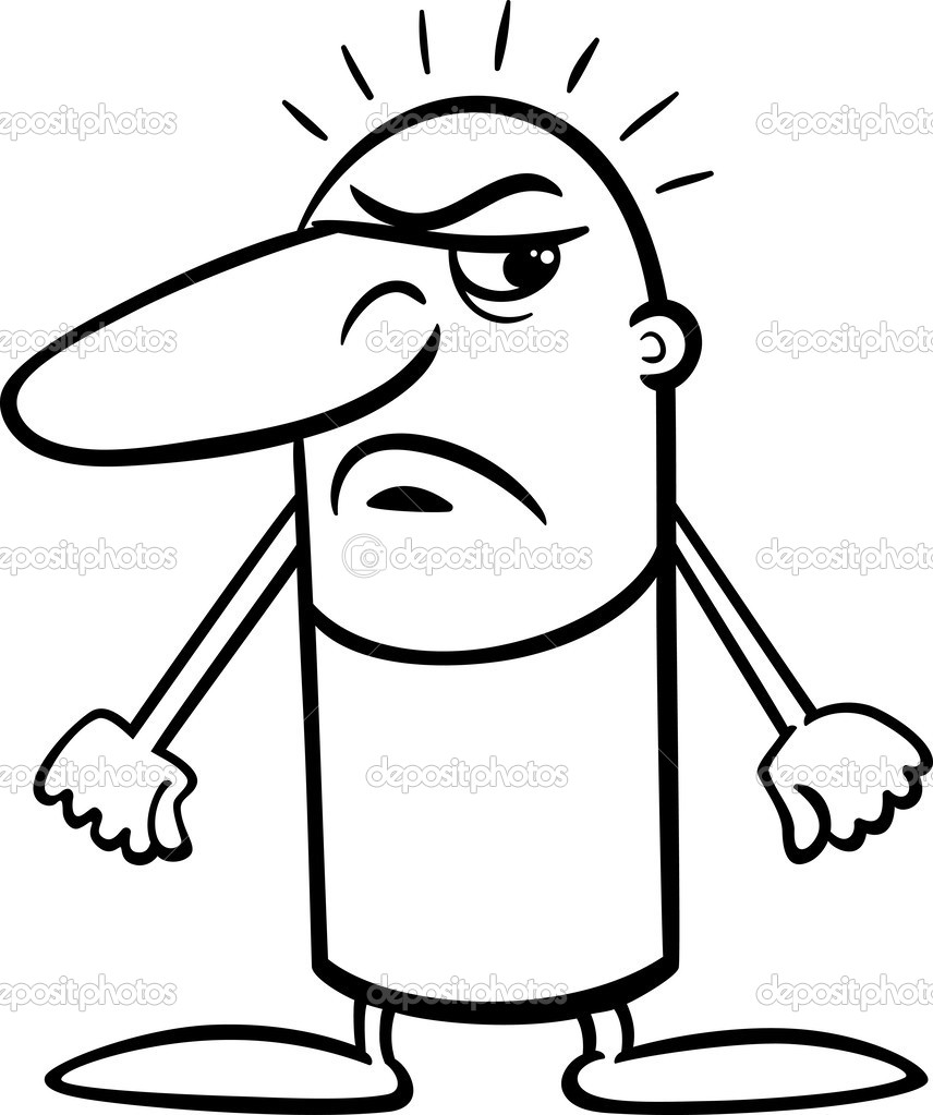 angry guy cartoon coloring page — Stock Vector © izakowski