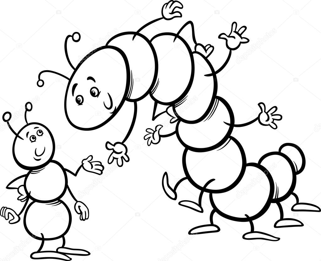 Ant and caterpillar coloring page — Stock Vector