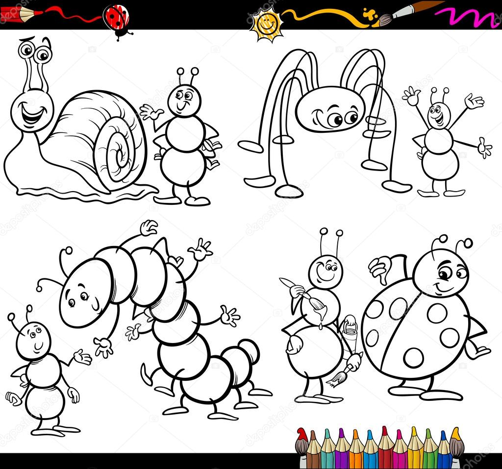 funny insects set for coloring book — Stock Vector