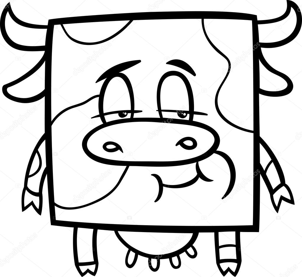 square cow cartoon coloring page — Stock Vector