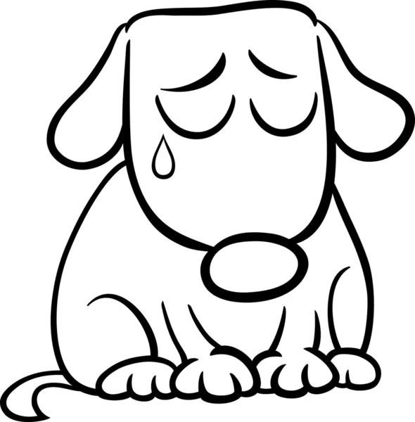 Página para colorear de dibujos animados de perro triste