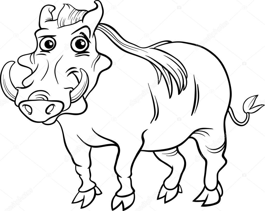 Livre De Coloriage Animaux Cartoon Phacochere