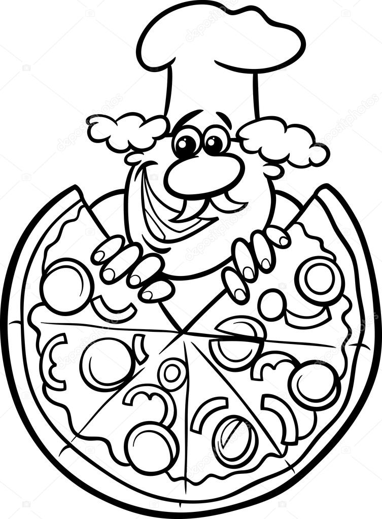 italiaanse pizza cartoon kleurplaat — stockvector