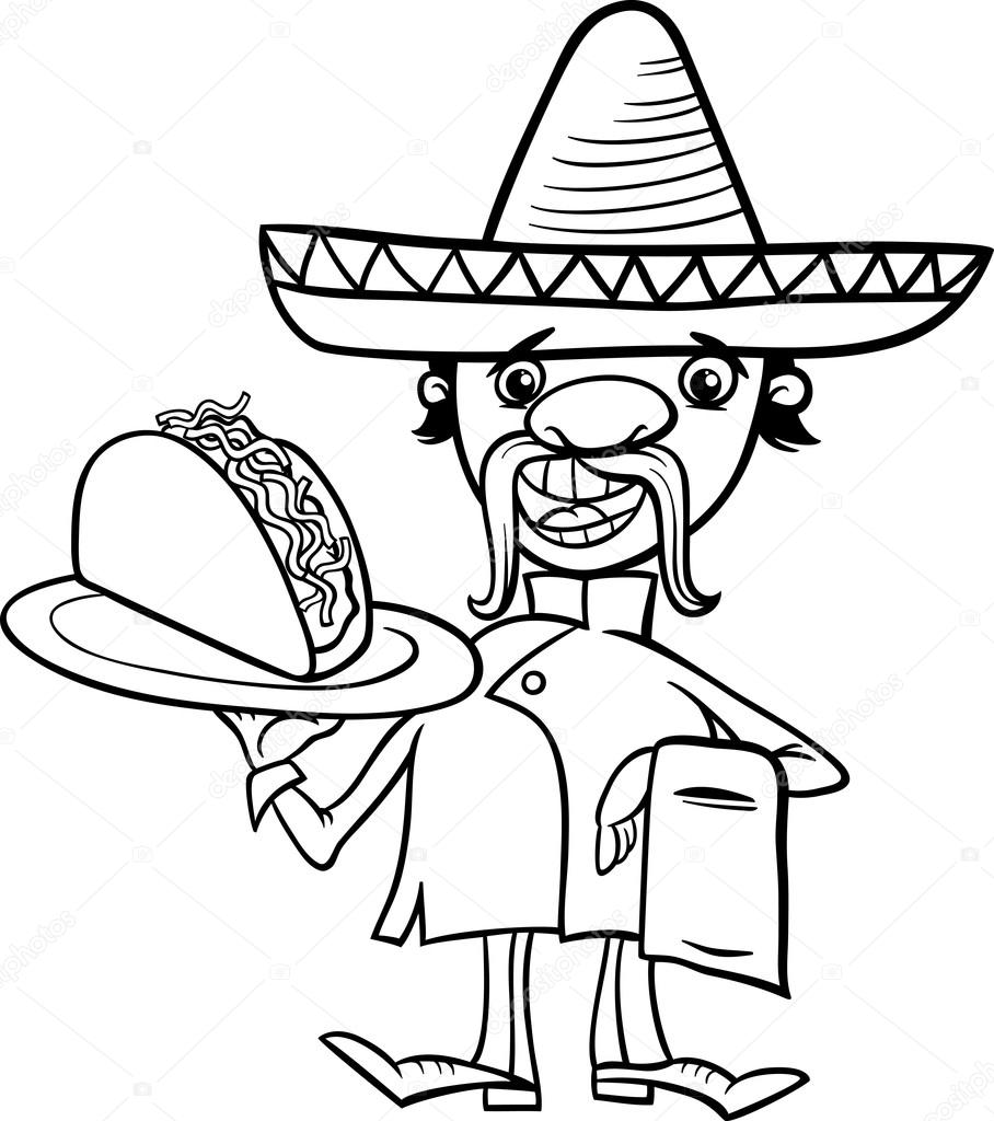 mexican chef with taco coloring page — Stock Vector