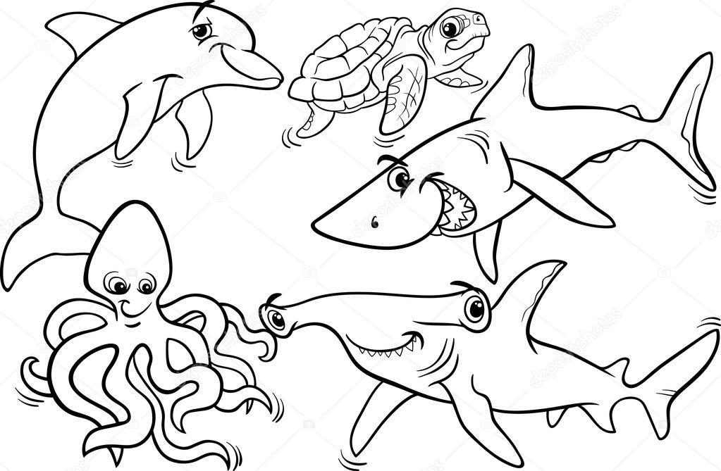 Sea life animals and fish coloring page — Stock Vector
