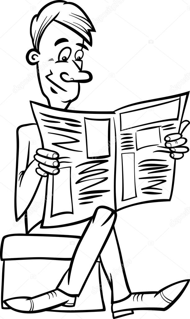 Man with newspaper coloring page — Stock Vector