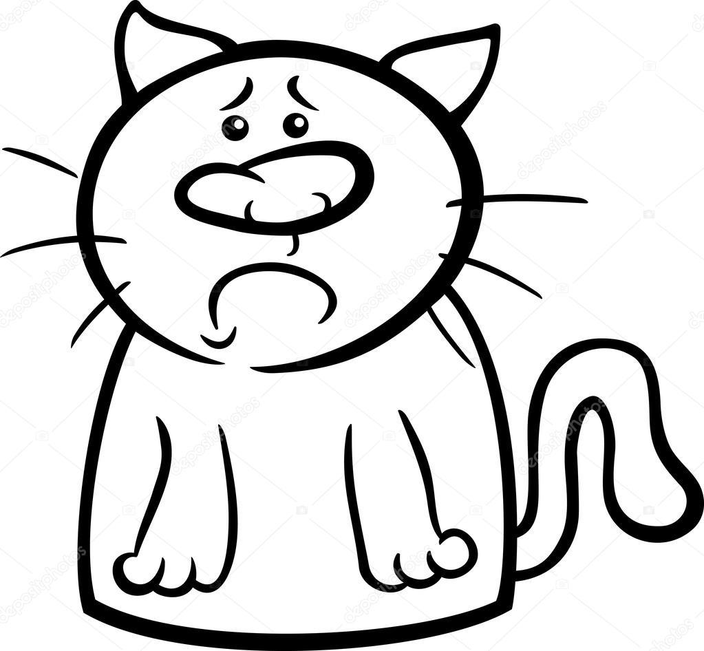 sad cat cartoon coloring page — Stock Vector © izakowski