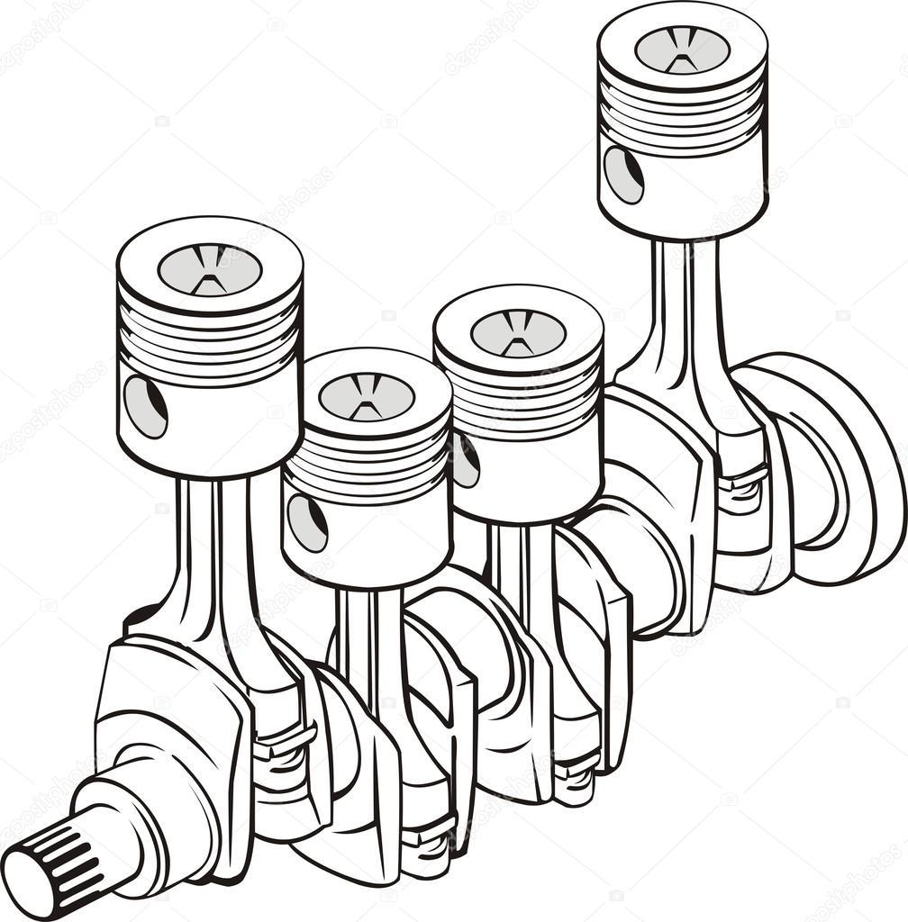 Pistons with crankshaft — Stock Vector © kokandr #38244981