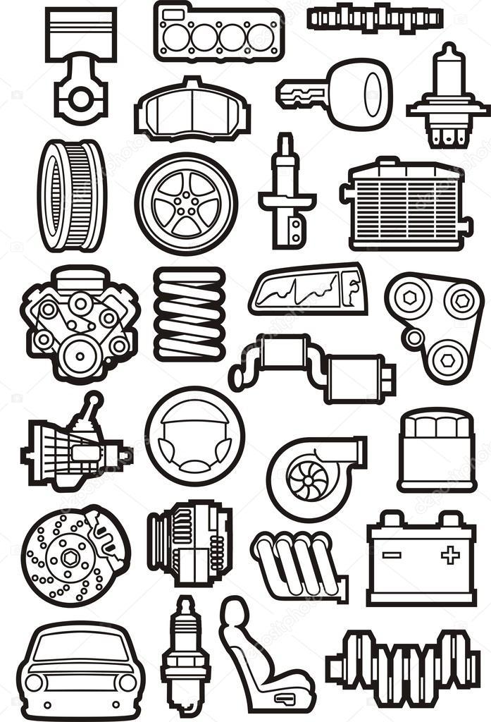 Car parts — Stock Vector © kokandr #38245317