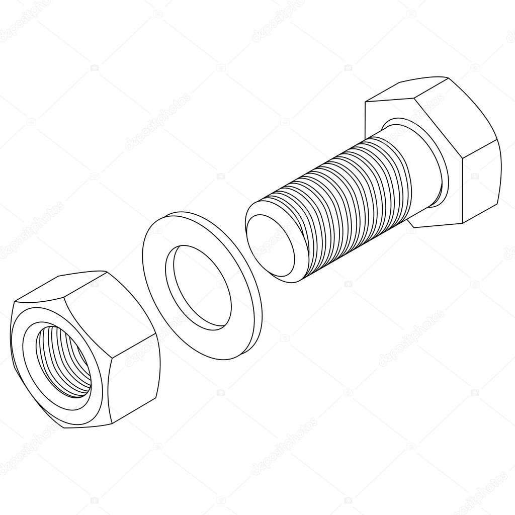 Stainless steel bolt and nut. — Stock Photo © aarrows
