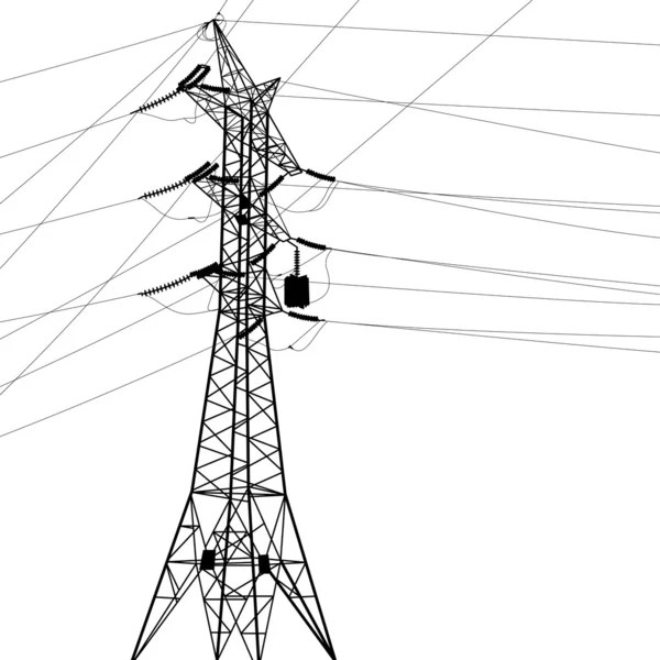 Silhouette of high voltage power lines. — Stock Photo