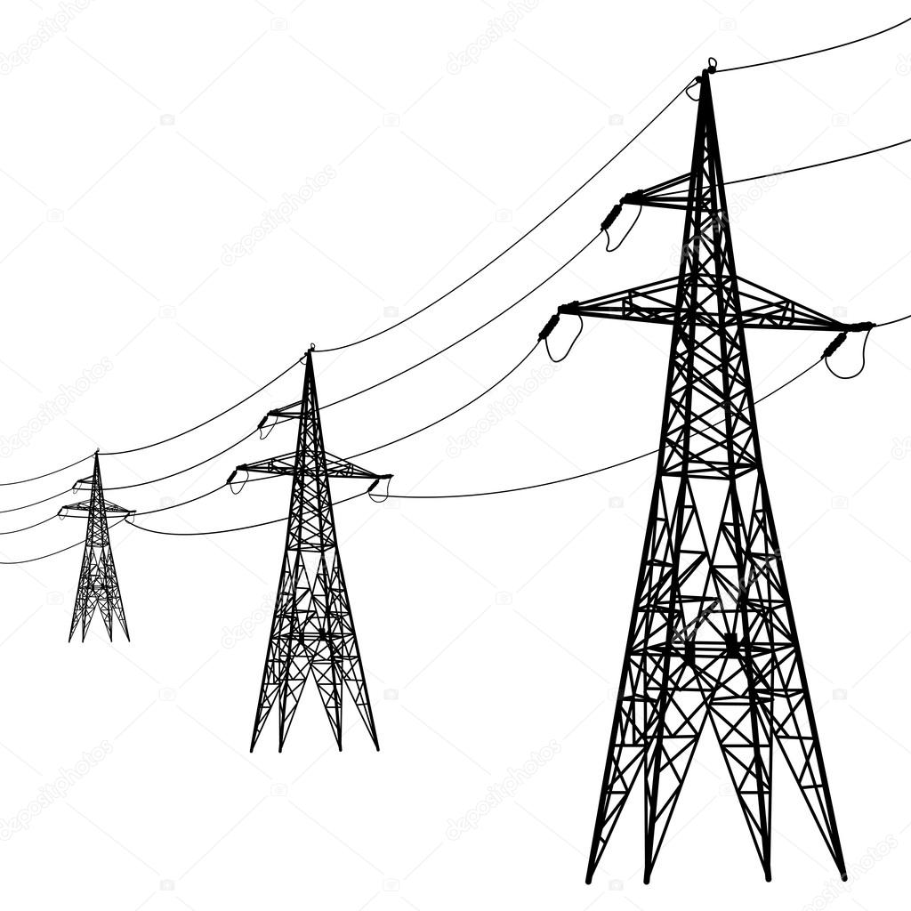 Silhouette of high voltage power lines. — Stock Vector