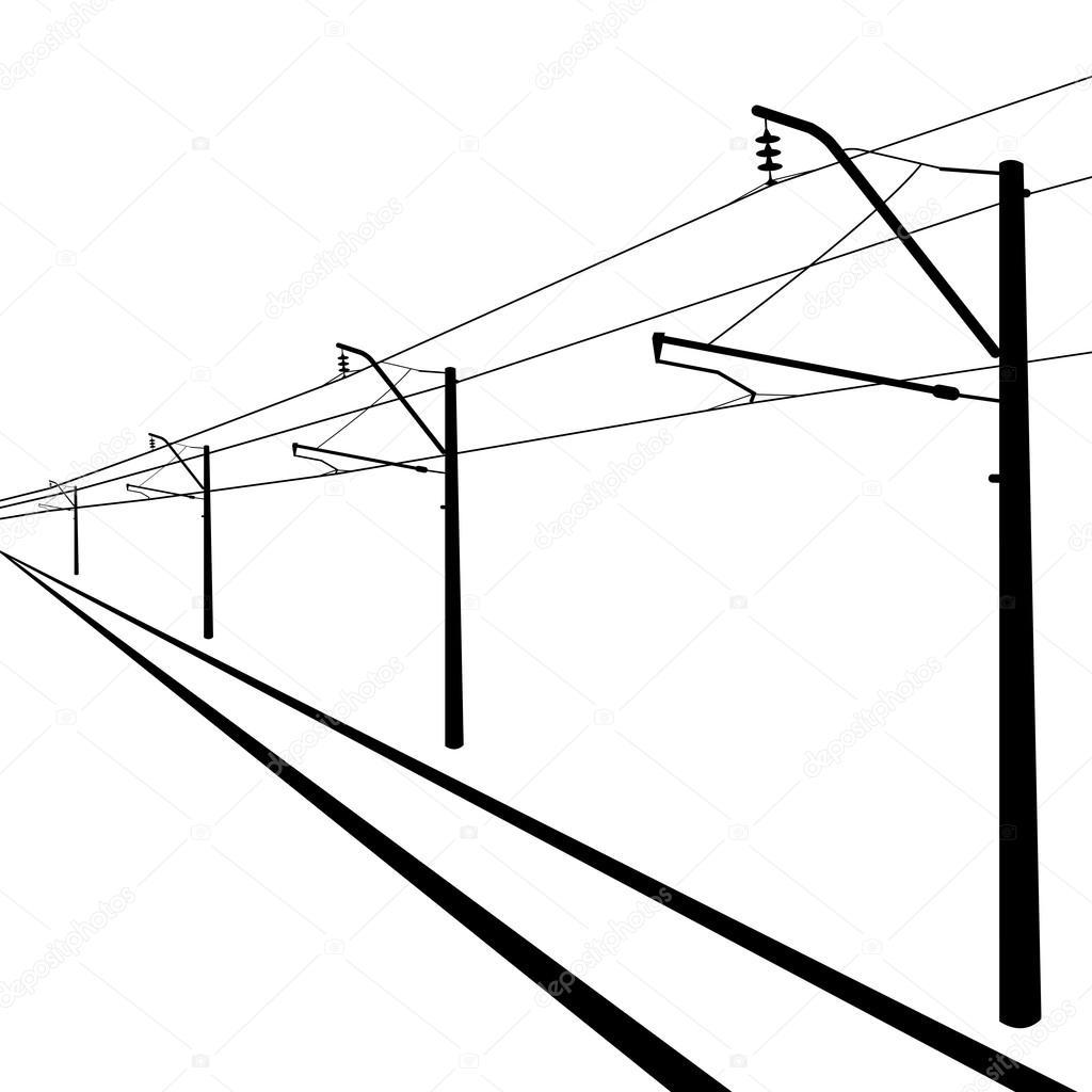 铁路架空线。接触线。矢量插画. — 图库矢量图像© aarrows #34460263