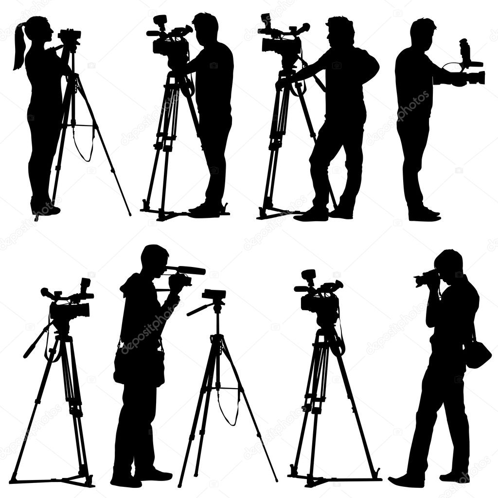 Cinegrafista com câmera de vídeo. silhuetas em fundo