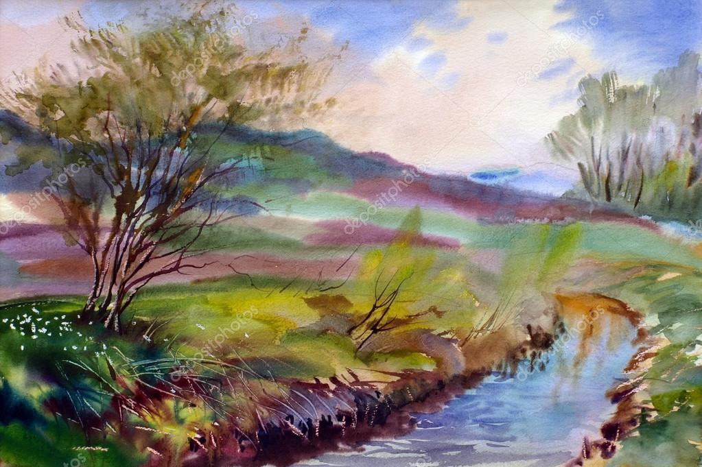 paisagem natural pintada por aquarela  Fotografias de