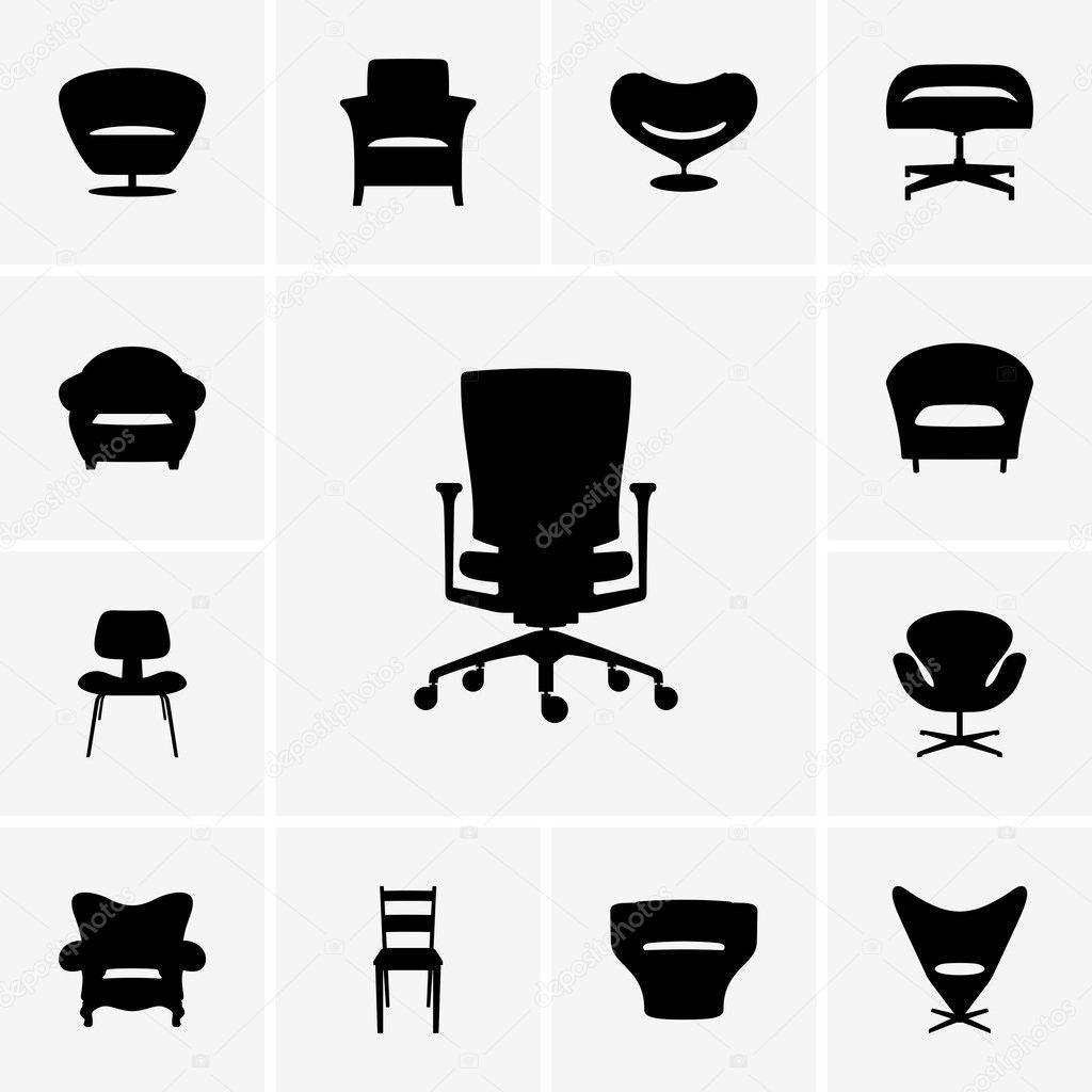 Modern Chair Icons Stock Vector DenBarbulat 26484717