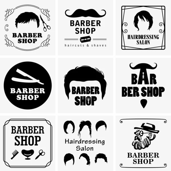 Salon Haircut y Barbershop Elements Cartoon Vector Graphic