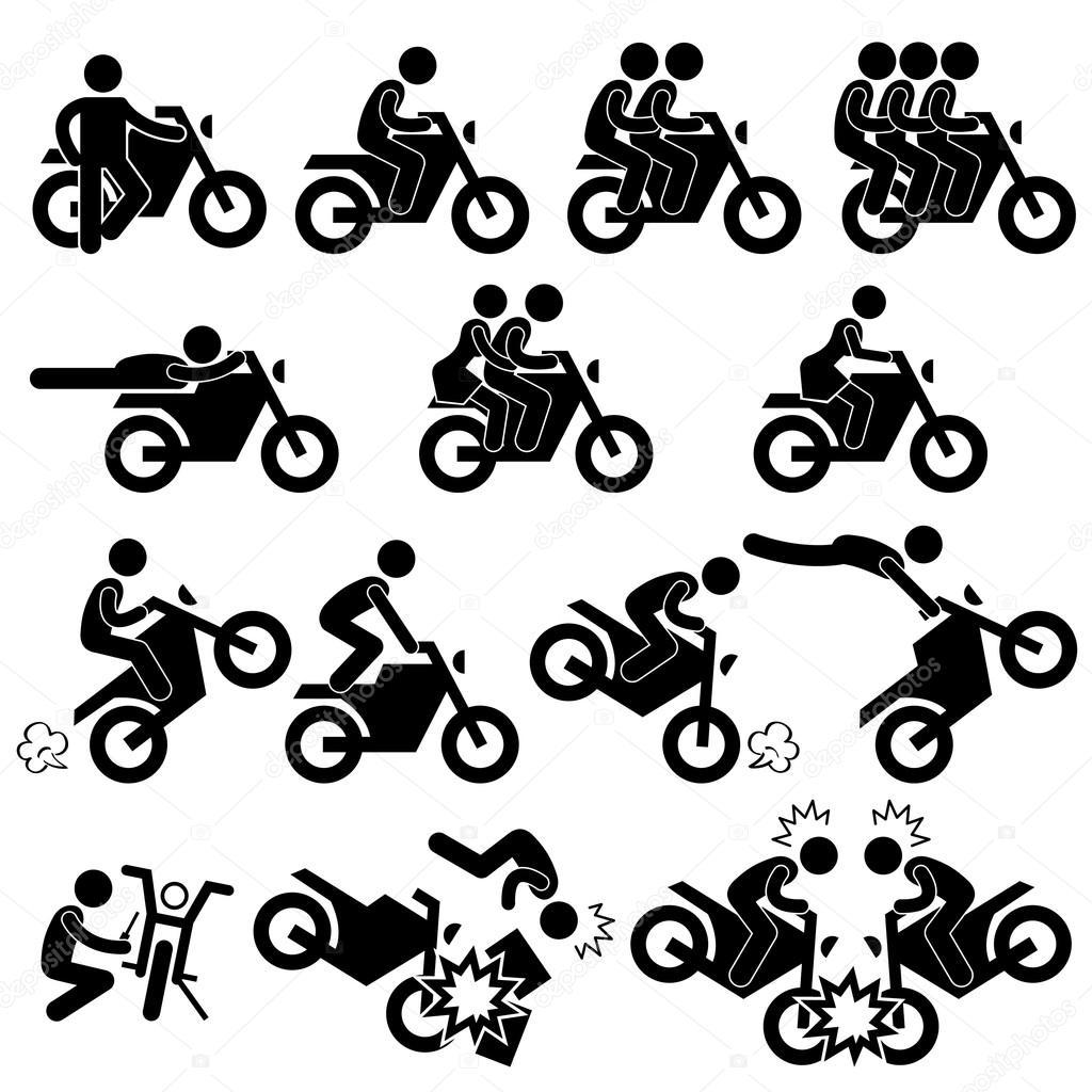 Icono De Pictograma De Motocicleta Moto Moto Stunt Man