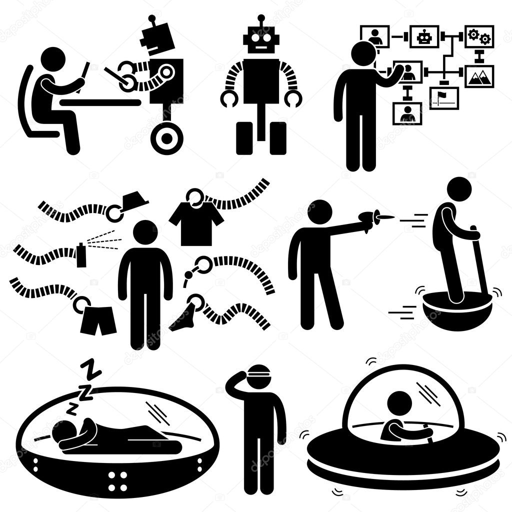 Of the Future Robot Technology Stick Figure Pictogram Icon