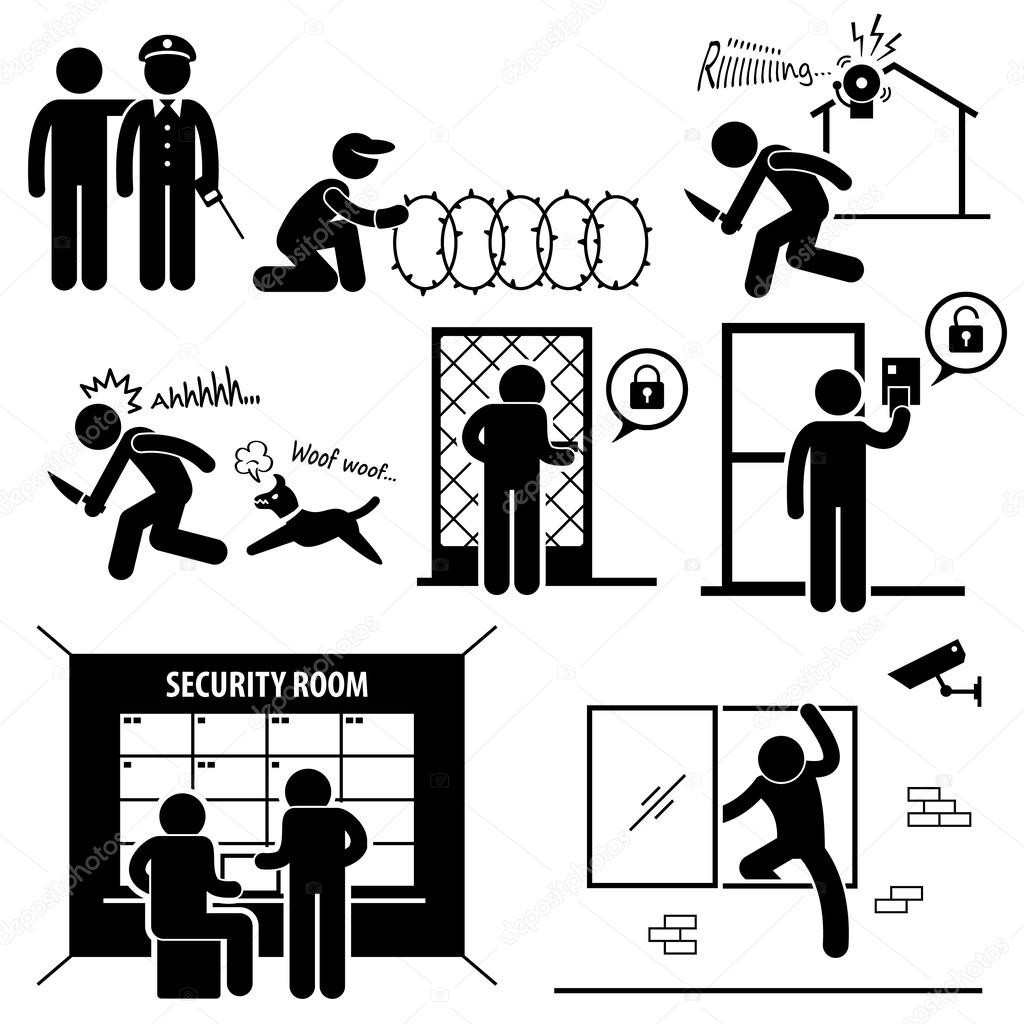 Security System Stick Figure Pictogram Icon — Stock Vector