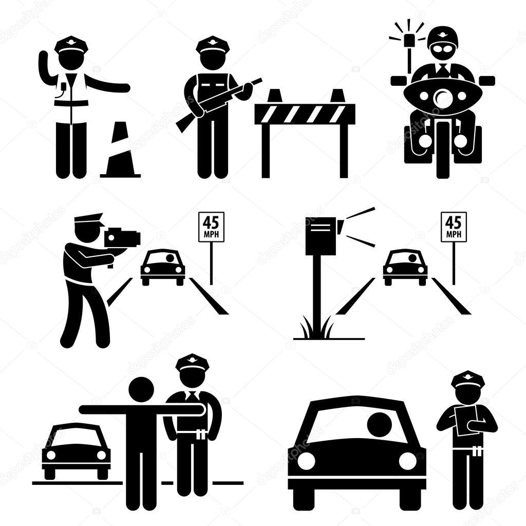 Polizist Verkehr im Dienst Strichmännchen Piktogramm