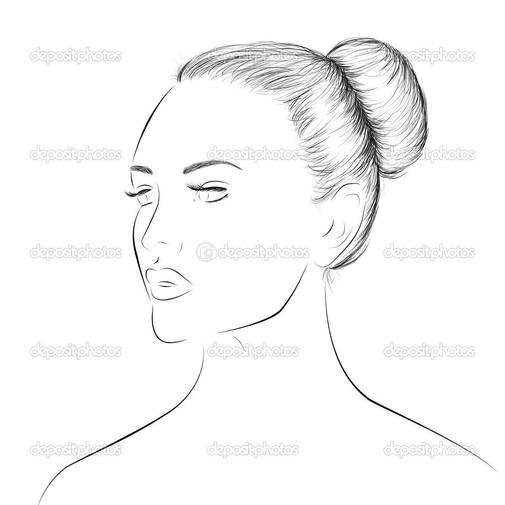 Kvinna Ansikte Lineart Skiss