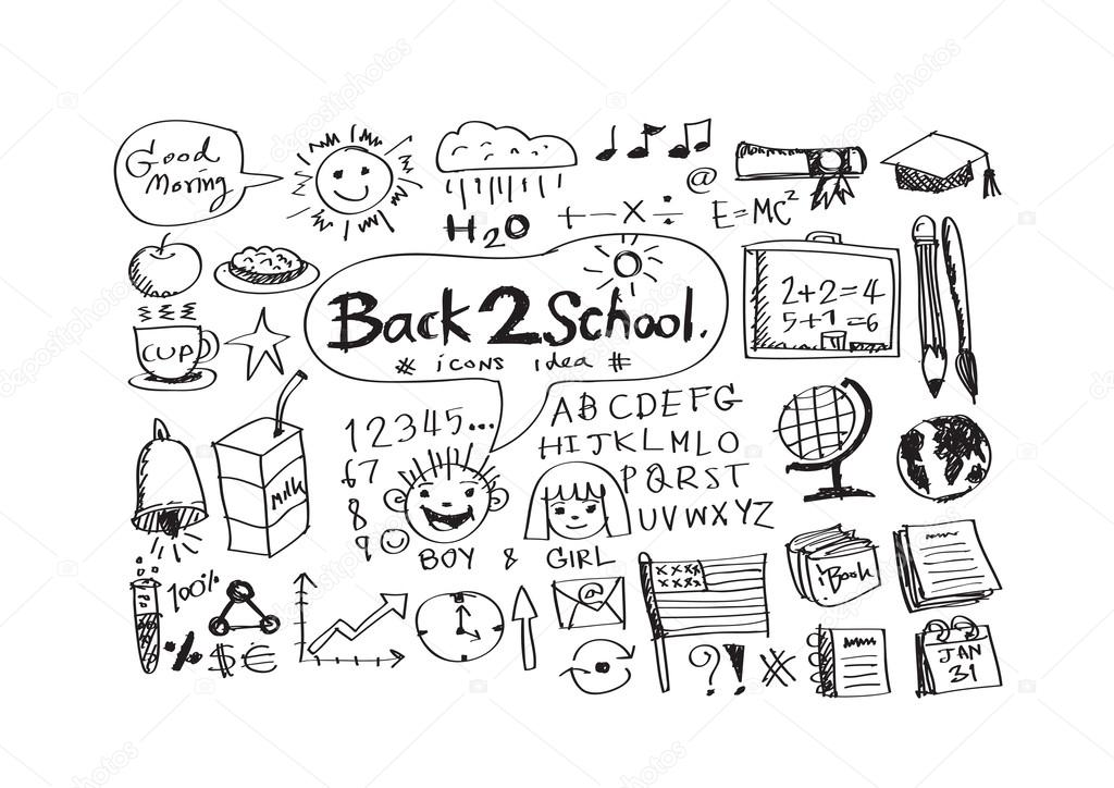 Hand draw doodle back to school icons — Stock Vector