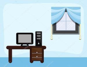 cartoon sala study estudio dibujos animados fondo estudo dibujo vetor computadora ilustracion baavli fundo desenhos ilustracao computador desenho depositphotos google