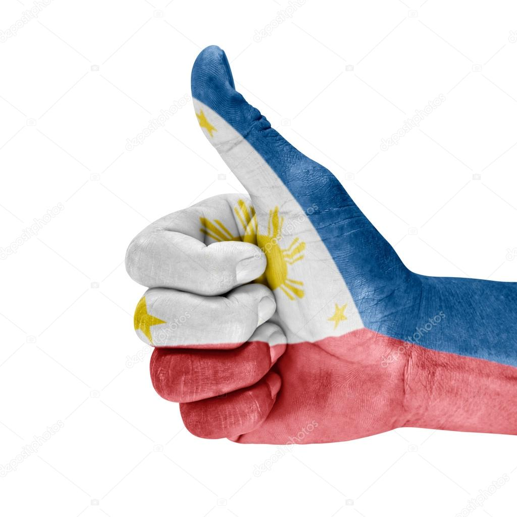 Philippines Flag On Thumb Up Hand