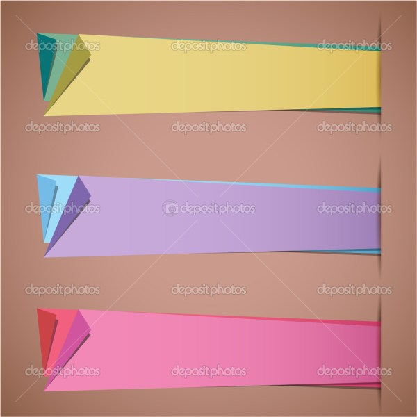 Folded Paper Blank Sticker Templates Stock Vector