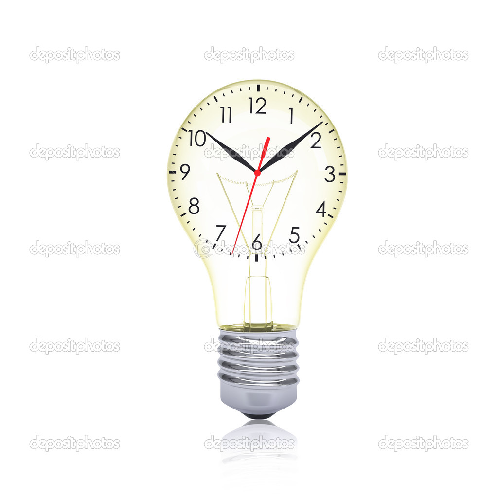 hight resolution of clock face inside the bulb stock photo