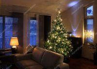 Christmas tree in modern living room  Stock Photo ...